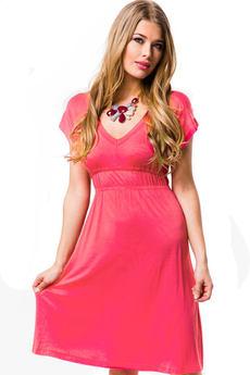 Розовое платье из вискозы на лето Mondigo