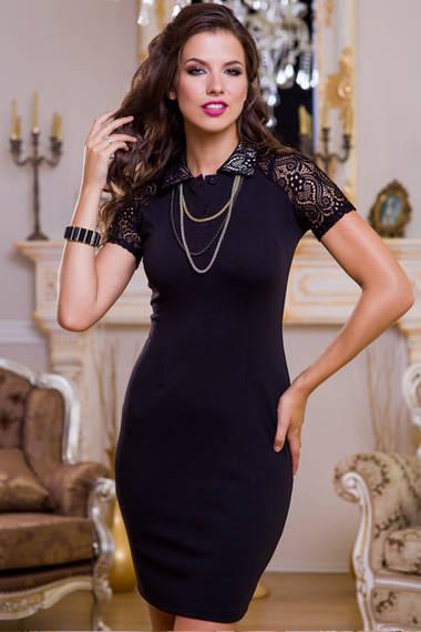 Angela Ricci Маленькое черное платье с кружевными рукавами
