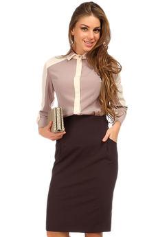 Коричневая офисная юбка карандаш Mondigo