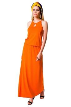 Оранжевое длинное платье Mondigo