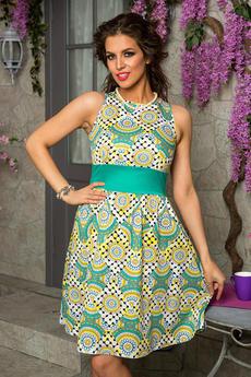 Зеленое платье с принтом Angela Ricci