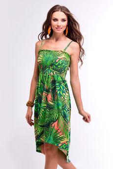 Летнее зеленое платье с асимметричным подолом VIAGGIO