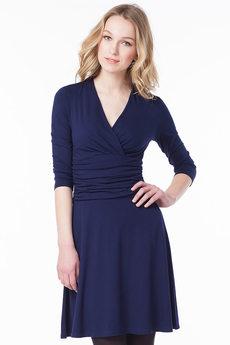 Синее платье с v-образным вырезом VIAGGIO