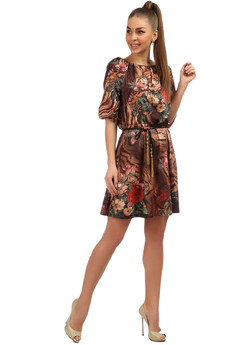 Платье из микрофибры с вырезом лодочка и поясом на резинке Mondigo