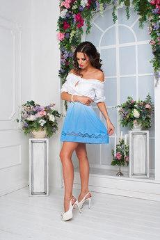 Летнее платье из 100% хлопка с открытыми плечами 0 Angela Ricci