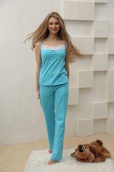 Пижама из тонкого хлопка: брюки и топ с кружевом FIORITA