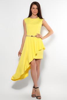 Желтое коктейльное платье Mondigo