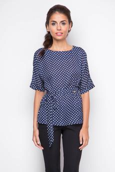 ХИТ продаж: свободная блузка с поясом и короткими рукавами Marimay