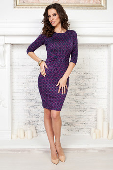 Фиолетовое платье футляр Angela Ricci со скидкой