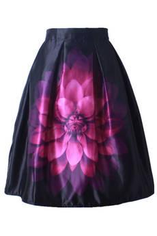 Юбка колокол с фиолетовым цветком Kokette