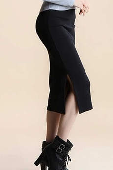 Длинная трикотажная юбка темно-синяя Kokette