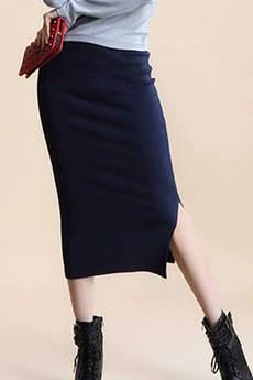 Длинная черная трикотажная юбка Kokette