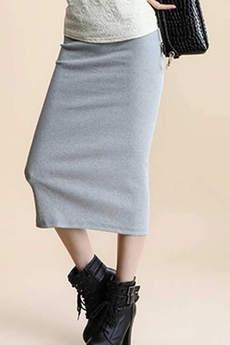 Длинная трикотажная юбка серая Kokette
