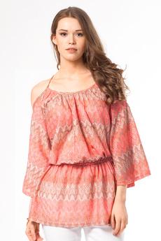 Блузка с открытыми плечами и поясом на резинке Vilatte