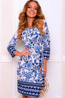 Повседневное платье с принтом под Гжель Open-Style