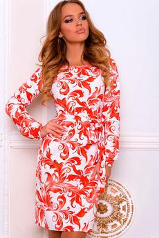 Повседневное платье с поясом и длинными рукавами Open-Style