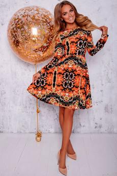 Черно оранжевое платье Open-Style