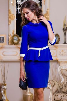 ХИТ продаж: синее платье с баской Angela Ricci