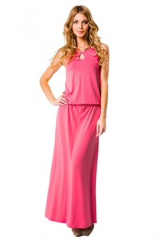 Розовое длинное платье Mondigo со скидкой