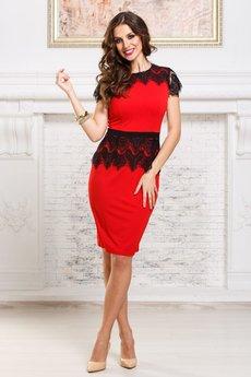 Нарядное красное платье с кружевной баской и пелериной Angela Ricci
