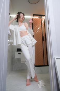 Белые хлопковые брюки Home Vim Win