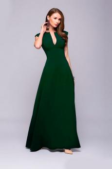 Новинка: зеленое платье макси с глубоким декольте 1001 DRESS