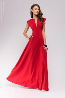 Новинка: красное платье макси с глубоким декольте 1001 DRESS