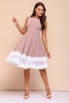 Новинка: платье цвета пепельной розы с белой отделкой 1001 DRESS