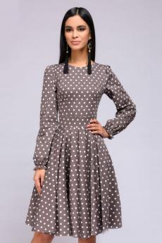 Новинка: бежевое платье в горошек с пышными рукавами 1001 DRESS