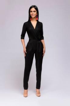 Новинка: черный комбинезон с рукавами 1/2 и карманами 1001 DRESS