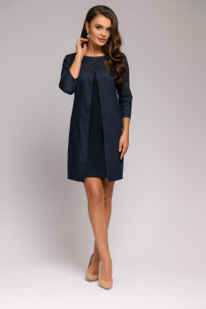 Новинка: темно-синее платье длины мини со вставкой 1001 DRESS