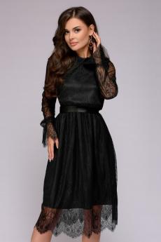 Новинка: платье черное кружевное длины миди 1001 DRESS
