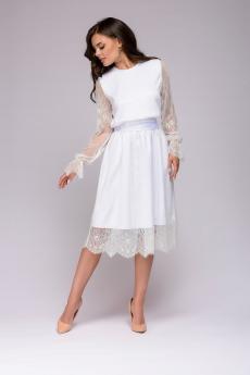Новинка: платье белое кружевное длины миди 1001 DRESS