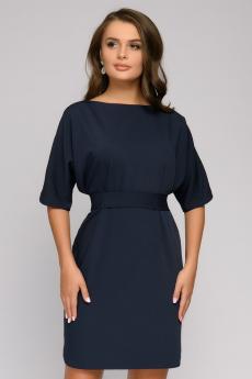 Новинка: платье темно-синее с поясом и рукавом