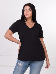 Новинка: черная женская футболка с v-образным вырезом Brosko