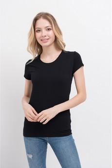 Однотонная черная футболка из хлопка Marimay