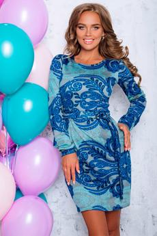 Платье с поясом и рукавом