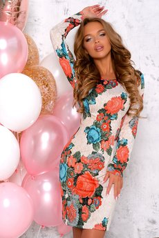 Платье с яркими цветами Open-Style