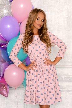 Розовое платье в горошек Open-Style