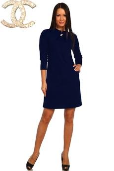 Темно синее платье с длинным рукавом Натали