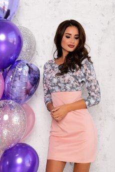 Розовое платье футляр Open-Style