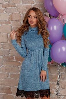 Синее платье с черным кружевом Open-Style