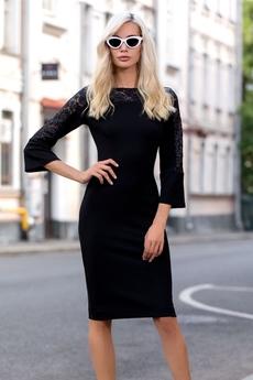 Новинка: черное платье с гипюровыми рукавами RUXARA