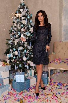 Новинка: темно синее блестящее платье Open-Style