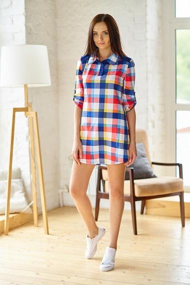 f44c9fd425f Удлиненная рубашка в клетку Шарлиз арт. 8136 купить в интернет-магазине  KOKETTE