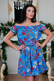 Синее платье с открытыми плечами Sofia