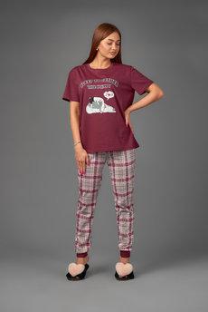 Женская пижама в клетку Трикотажница со скидкой