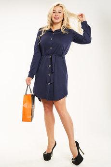 Темно-синее платье рубашка Трикотажница