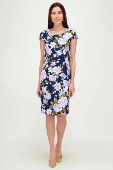 Синее платье с фиолетовыми цветами Viserdi со скидкой