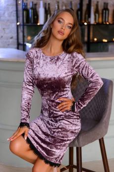 Велюровое платье аметистового цвета Open Style
